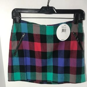 BCBG Plaid Multicolor Mini skirt w/Pockets Size 0
